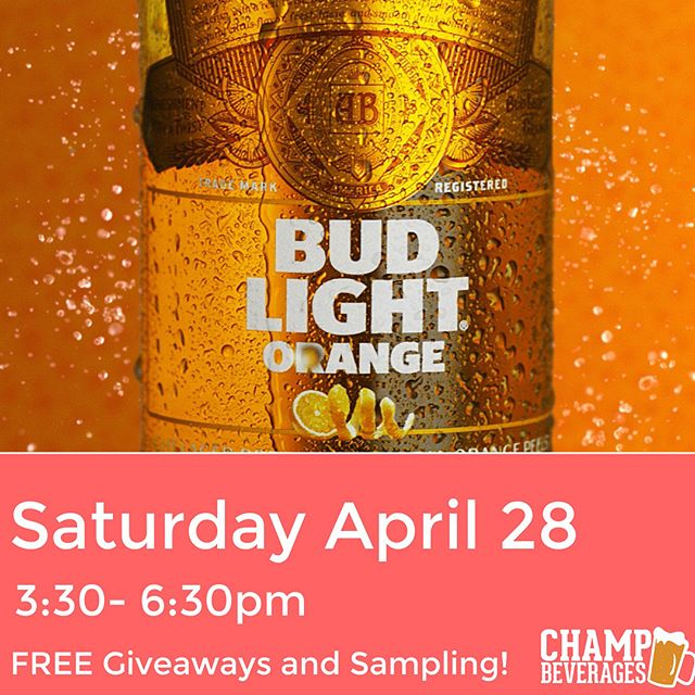 Budweiser just debuted #budlightorange just in time for summer!! Celebrate this Saturday (April 28) at @champbeverages !! Join us from 3:30-6:30pm for FREE giveaways and more!  We're giving away T-Shirts and Hats! A chance to win 10 sets of Yankee Tickets! And a Michelob Ultra Bike (no purchase necessary to win bike)  YOU DON'T WANT TO MISS OUT!!