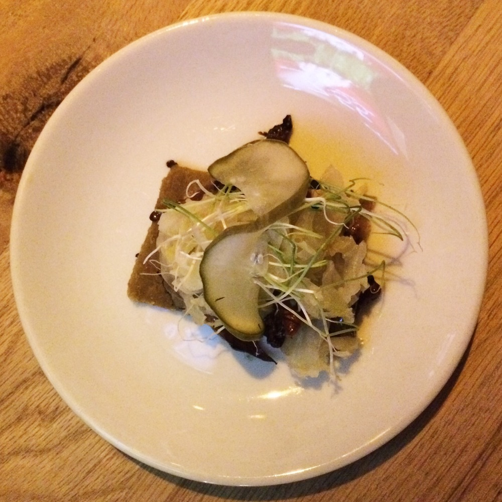 "Fourth Course Reuben caraway ""rye"" bread, marinated mushrooms, thousand island dressing, sauerkraut, dill pickles"