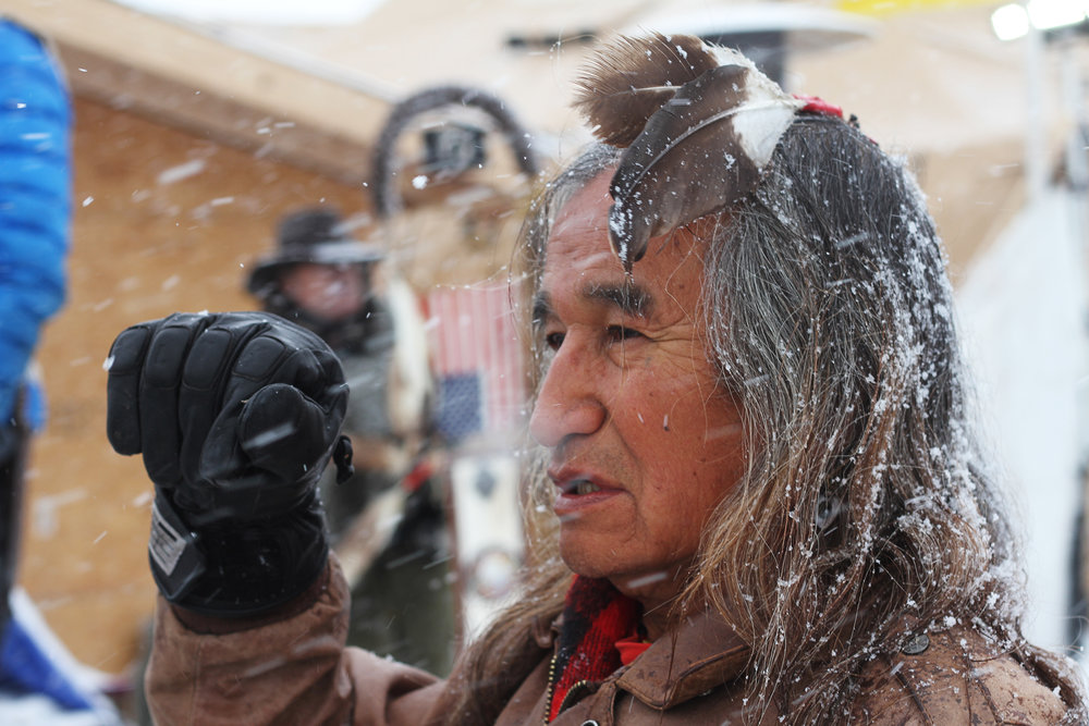Phil Little Thunder Sr. is of the Rosebud Sioux Tribe. He arrived in Standing Rock in August.