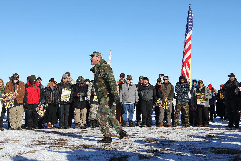Approximately 2,ooo veterans are believed to have arrived in Standing Rock the weekend of December 4, 2016 - the initial deadline tribal leaders were given for clearing the camps.