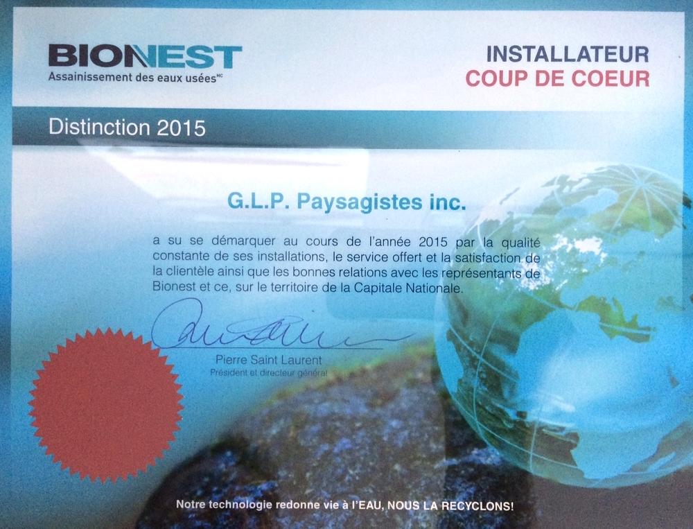 G.L.P. installateur coup de coeur en 2015 !