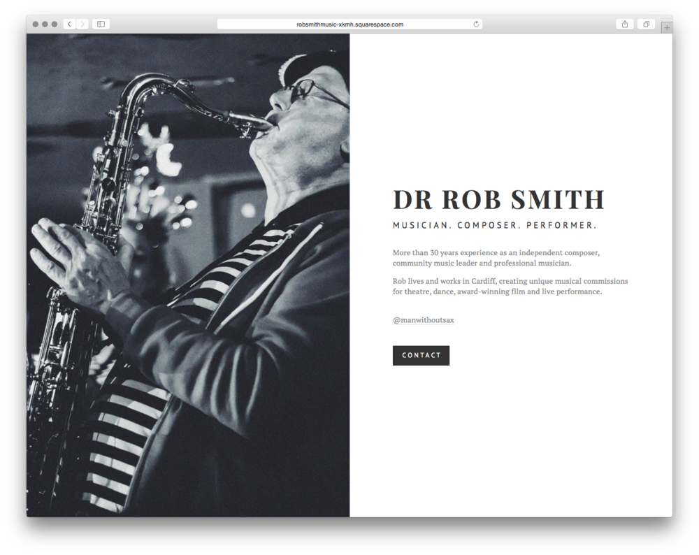 Dr Rob Smith, by  CreativeMornings/Cardiff .  A local musician with over 30 years experience didn't have a web presence, so the organizers in Cardiff changed that.