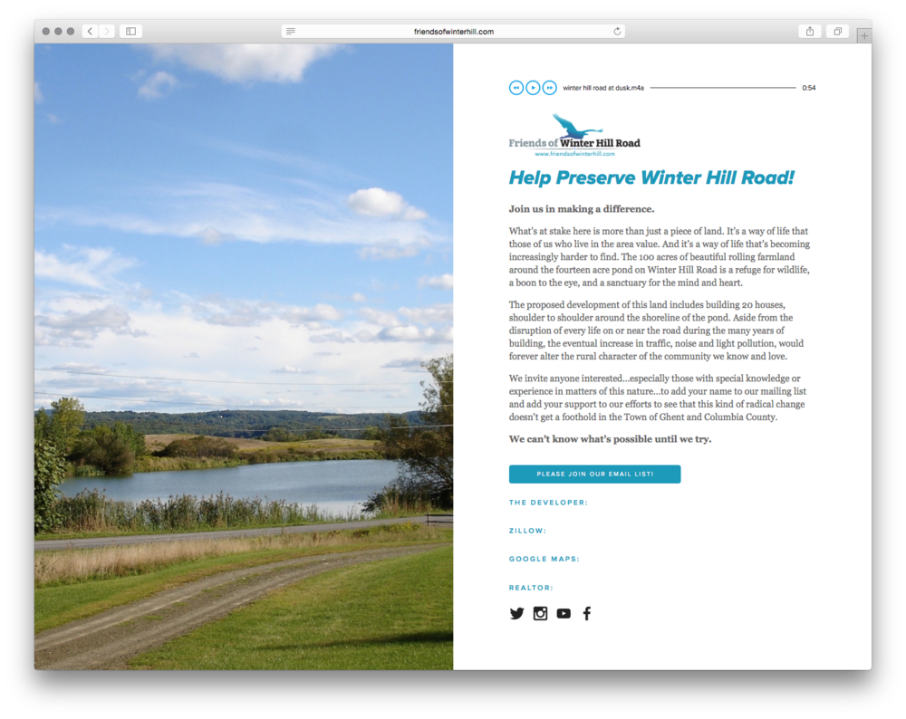 Help Preserve Winter Hill Road, by  John L. Sullivan .  Citizen-neighbors are supporting a grass-roots, community effort to fight off development of an old family farm.