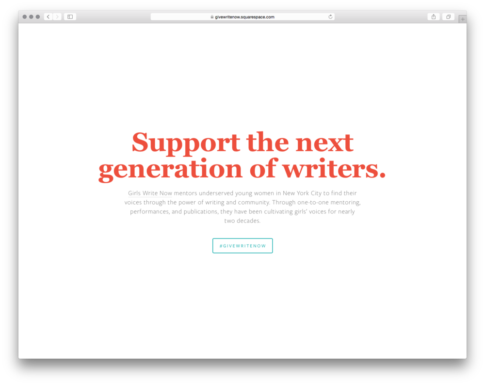 Give Write Now, by Katie Zanecchia.Katie believes in the power of voice and in the power of community, so her cover page supports a local youth organization, Girls Write Now.