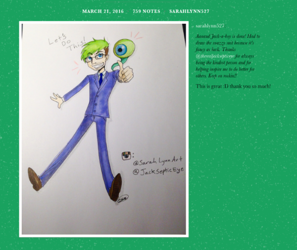A screen grab of JackSepticEye's compliment to my illustration