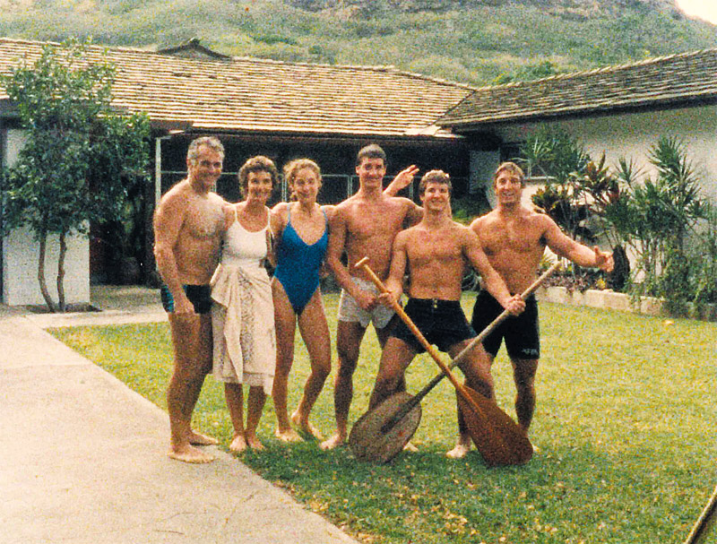 Dr. Philip and Mollie Foti with Kathy, John, Jim and Frank in earlier days at home in Lanikai