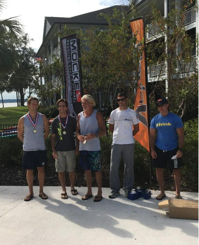 12 Mile Podium: 1st- Lee McGregor, 2nd-Reid Hyle, 3rd-Nate Humberston w/ Mark Smith and Mark McKenzie of Elite Ocean Sports