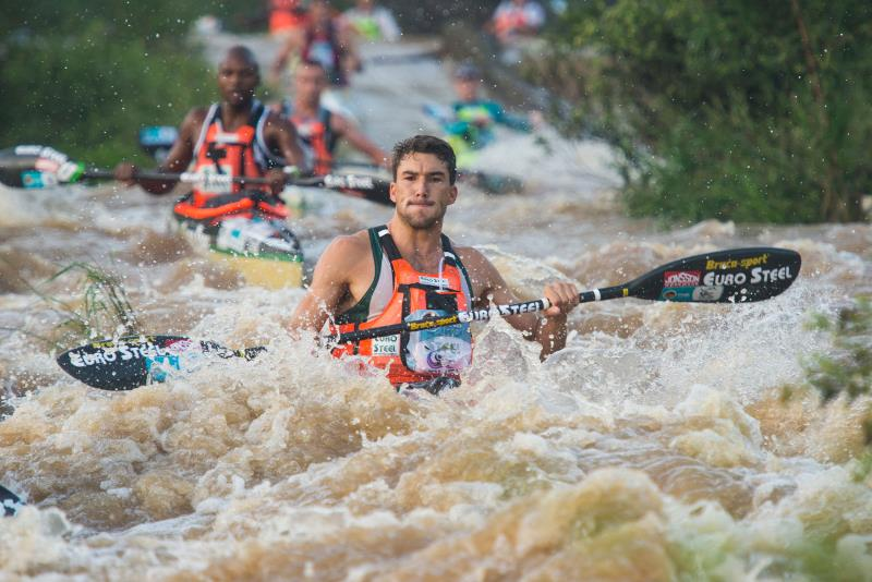 Dusi winner Andy Birkett navigates the Champagne--photo Anthony Grote