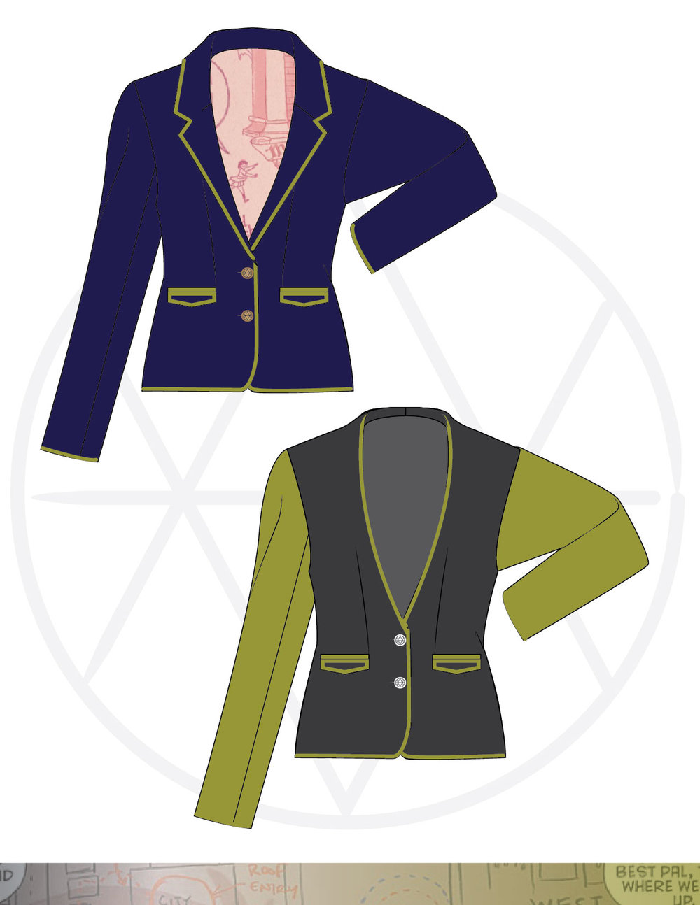 Blazer two ways: classic and collarless with color blocked sleeves