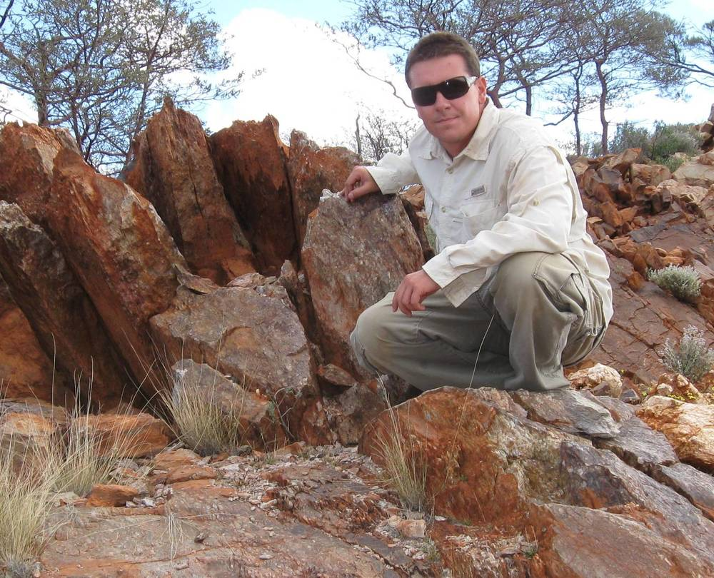Dr. Matthew M. Wielicki in the Jack Hills, Western Australia at the location where the Hadean zircons have been discovered.