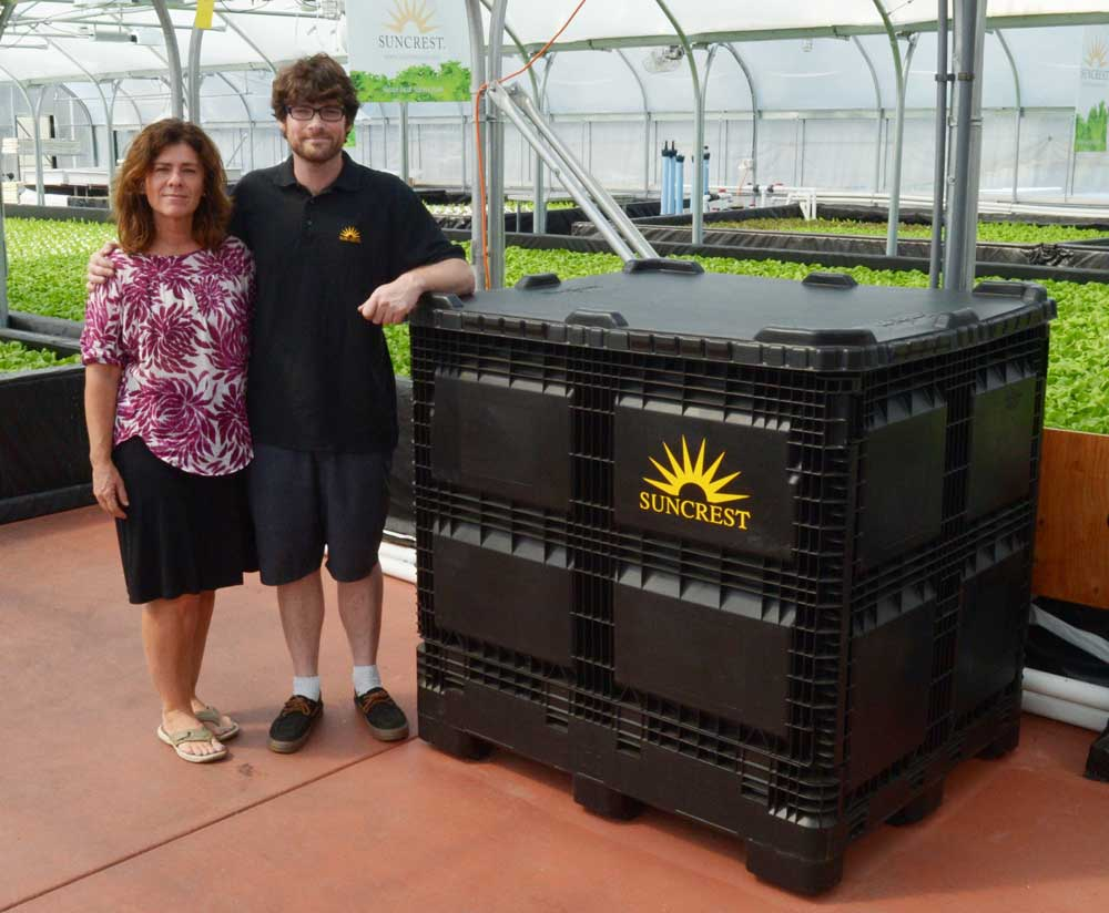 Maureen Murphy, co-owner of Whidbey Growers, LLC. on Whidbey, with her son Sam Rowley, a proud grower of Suncrest™ Bibb.