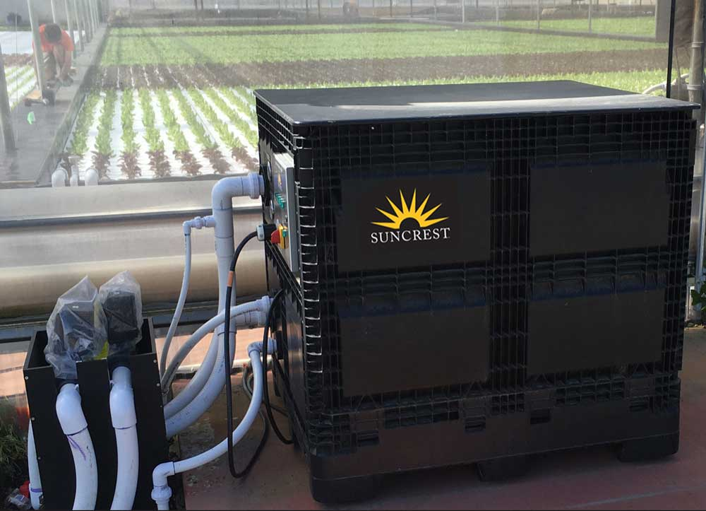Suncrest's modular, DWC Control Module circulates more than 35,000 gallons of water daily  to maintain optimum growing conditions for the lettuce.
