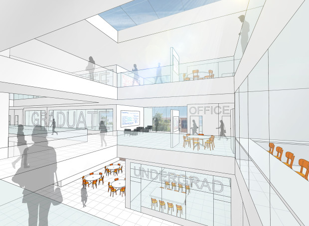 An early conceptual drawing of the new CSE building interior by LMN Architects. The final building design will incorporate an undergraduate commons (pictured) and instructional labs, seminar rooms, research labs, and collaborative spaces for students and faculty.