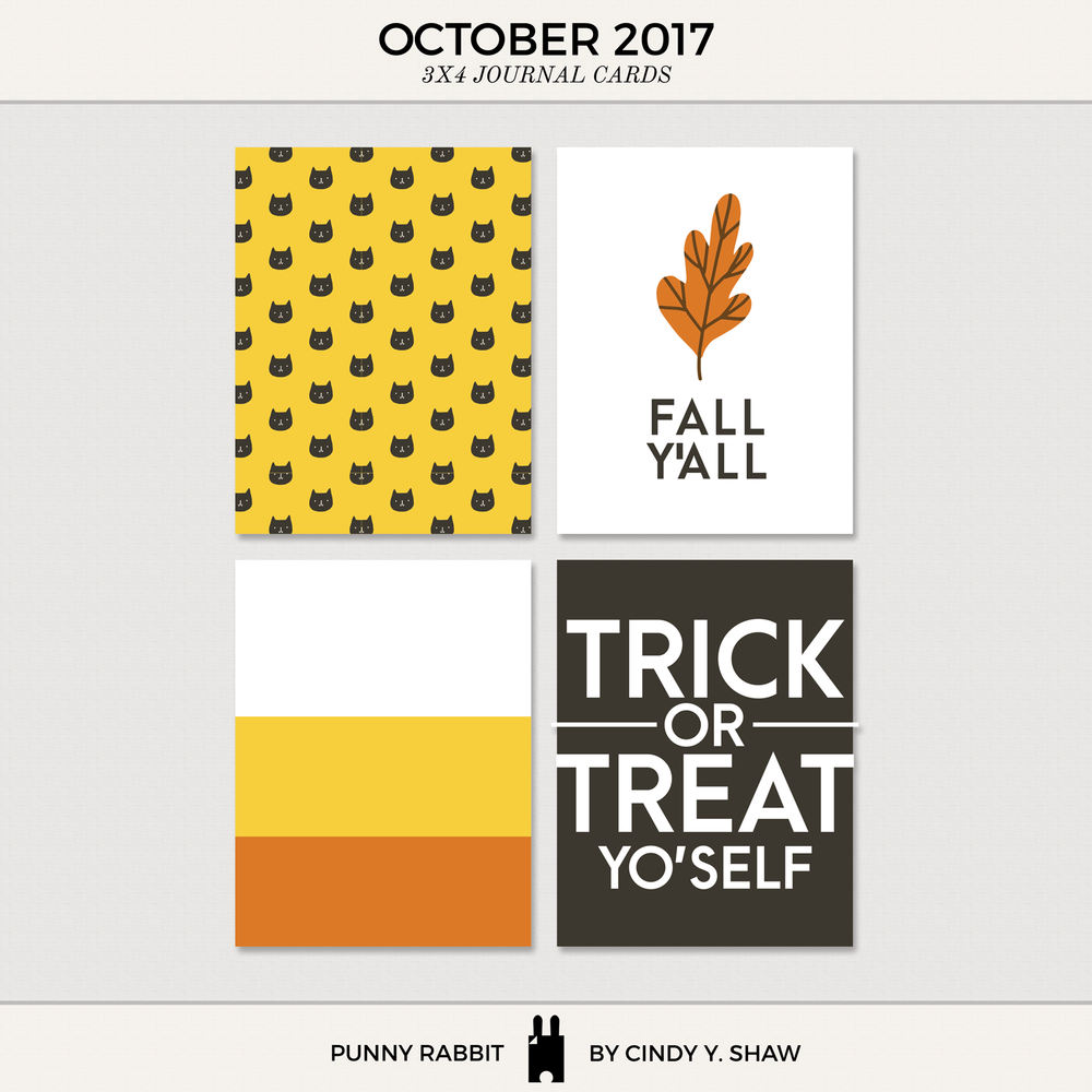 FREEBIES: 3X4 PROJECT LIFE CARDS - September and October 2017