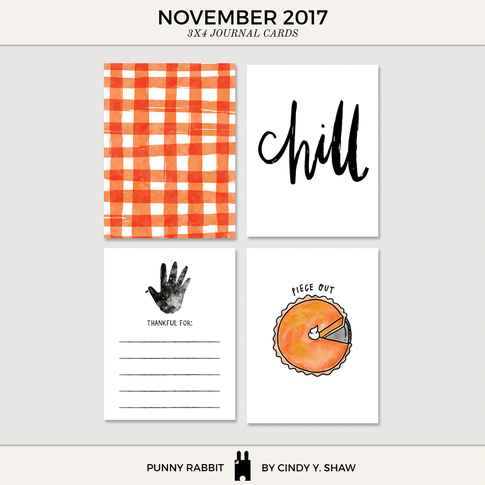 FREEBIE: 3X4 PROJECT LIFE CARDS - November 2017