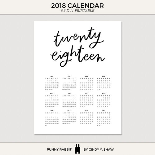 punny rabbit 2018 calendar previewpng