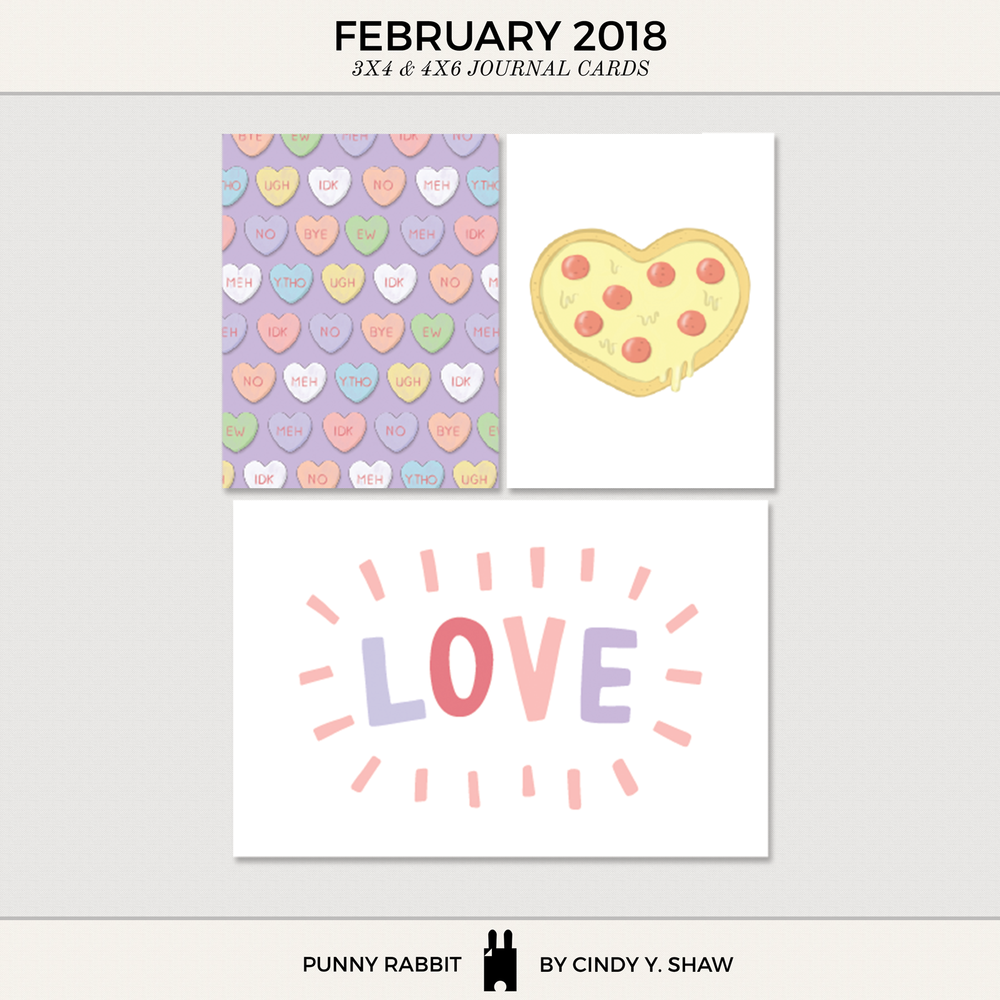FREEBIE: 3X4 PROJECT LIFE CARDS - February 2018