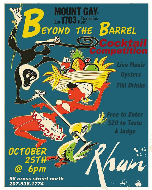 Don't miss this mixin', shakin', pourin' good time! What better place to spend a rainy Wednesday evening than in the warm embrace of our #TikiBar? The pros from @_centralprovisions_, @chavalmaine, @romaportland, @tipomaine, & yours truly are battling for the best @mountgayrum cocktail of the night and YOU have a chance to vote for your favorite! It all starts at 6 (& did we mention FREE oysters??) 🍹🍹🍹 | #PortlandMaine #RhumPortland #TikiCocktails #RumCocktails #TikiAF #Mixology