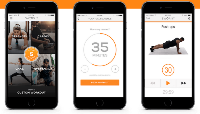 """3.) Sworkit - Sworkit stands for """"simply work it,"""" and will help you get on track with your fitness goals. This app is perfect for anyone who wants to be active, but can't commit to a gym. The app helps you to determine your current fitness level and then tailors a six-week program based on your needs, including how much time you want to spend working out."""