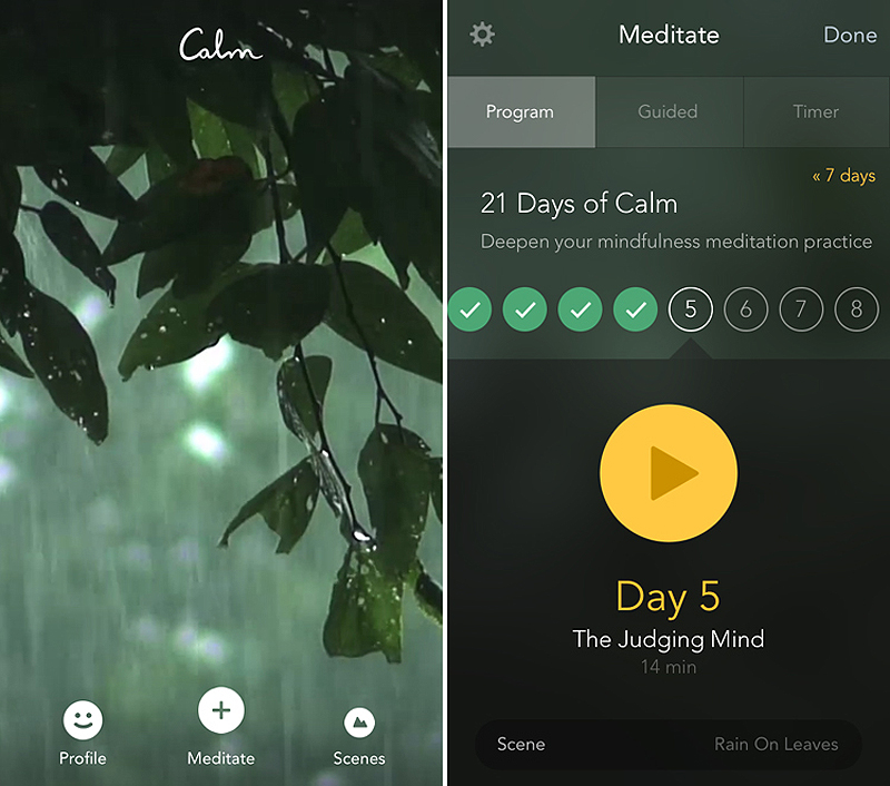 5.) Calm - Working out and proper diet are not the only factors that influence your health. In order to improve the quality of your life, you should make sure to keep stress in check. The best way to do this is with the help of meditation. The Calm app can guide you through different types of mediations or simply play natural sounds that will help you calm down and get rid of stress. Stressed at work? Pop in some discreet earbuds like the Rowkin Bit Charge Stereo and get a small relaxation session right at your desk.