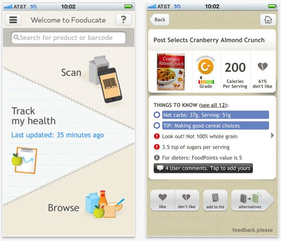 13.) Fooducate - Healthy grocery shopping can actually be fun if you have the right app. Fooducate makes you aware how healthy are the items that you buy. All you have to do is open the app, scan the barcode, and then you'll get all the info you need. In addition, the app can also track your hunger levels, mood, and sleep.