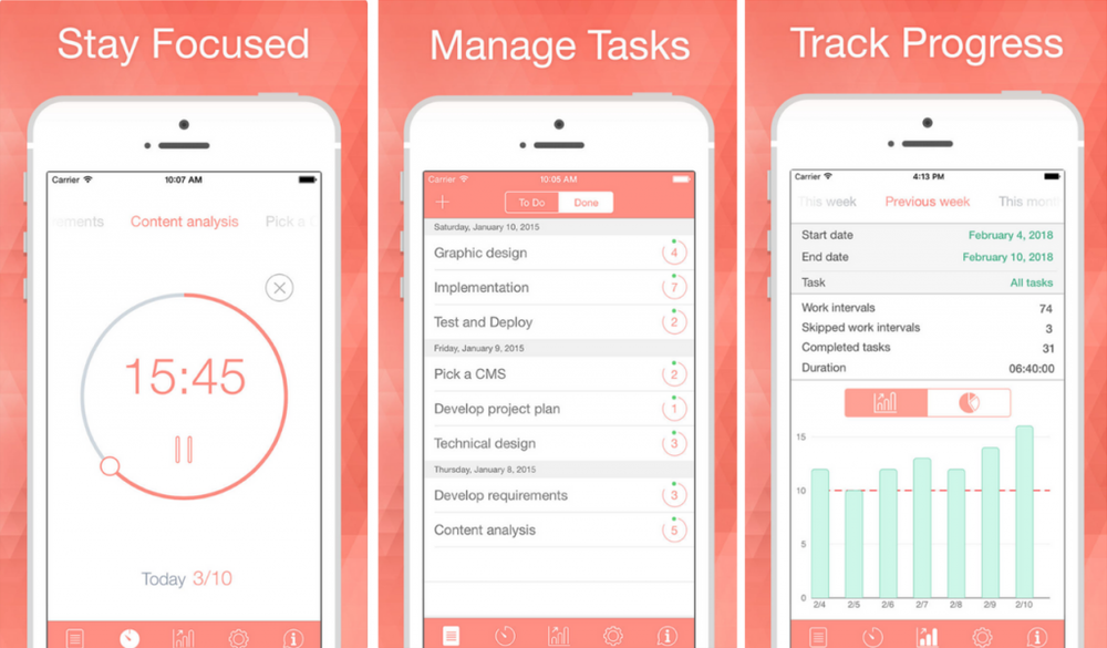 19. BeFocused - Do you have a difficult time focusing at work? BeFocused is based on the Pomodoro Technique, and features a timer that breaks down a task into 25 minute intervals with 5 minute breaks in between. BeFocused has a simple interface, and lets you record tasks and check them off your list, adding to a sense of accomplishment throughout your day.