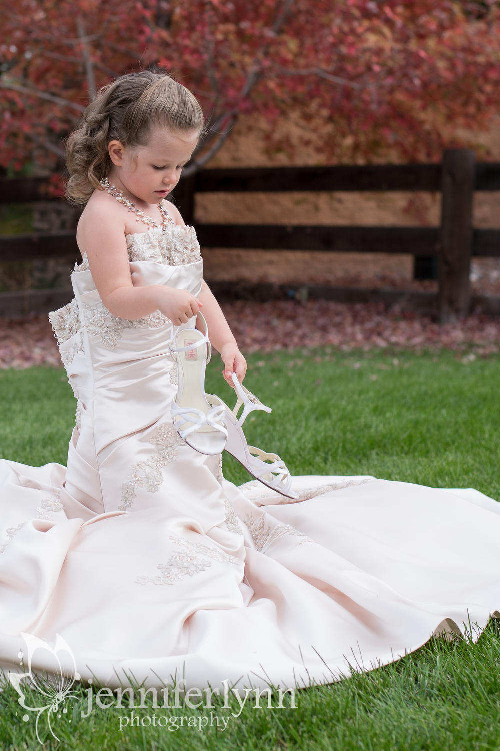 Girl in Mom's Wedding Dress
