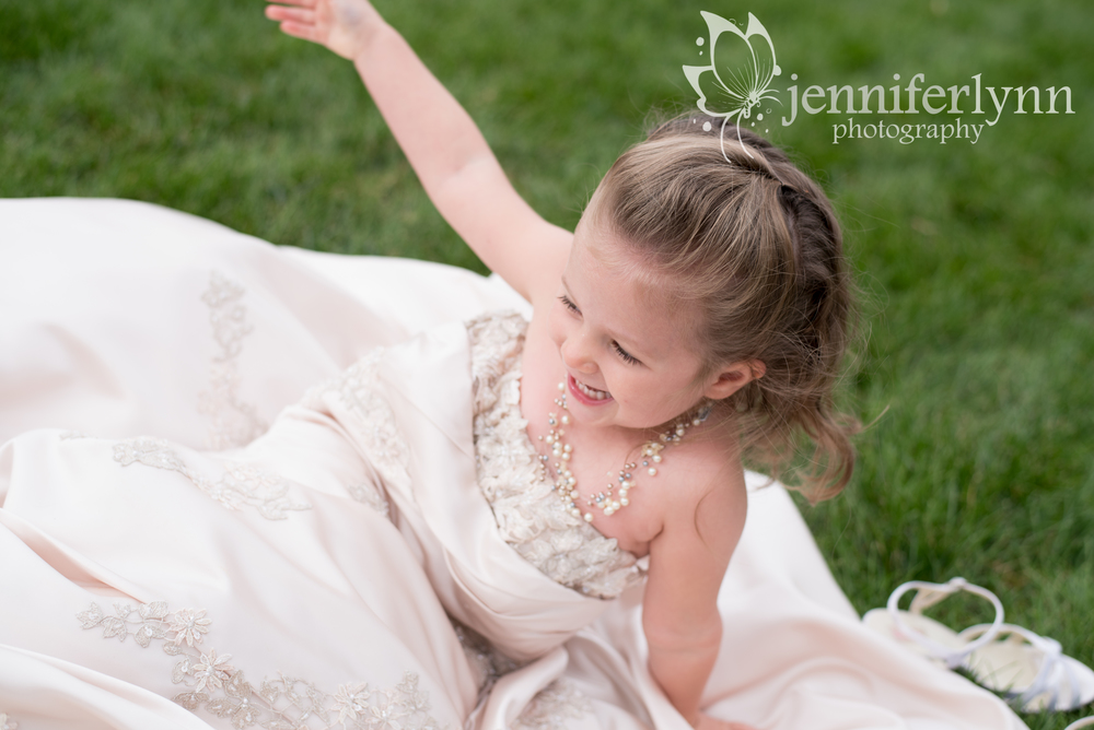 Daugher Playing in Mom's Wedding Dress