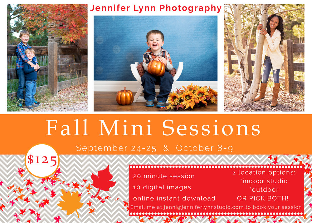 Email me today to book your slot for Fall Mini's!