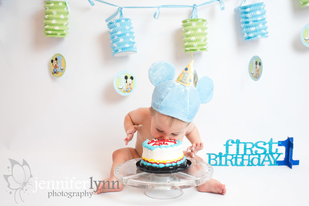 Cake Smash Boy Birthday Baby Mickey