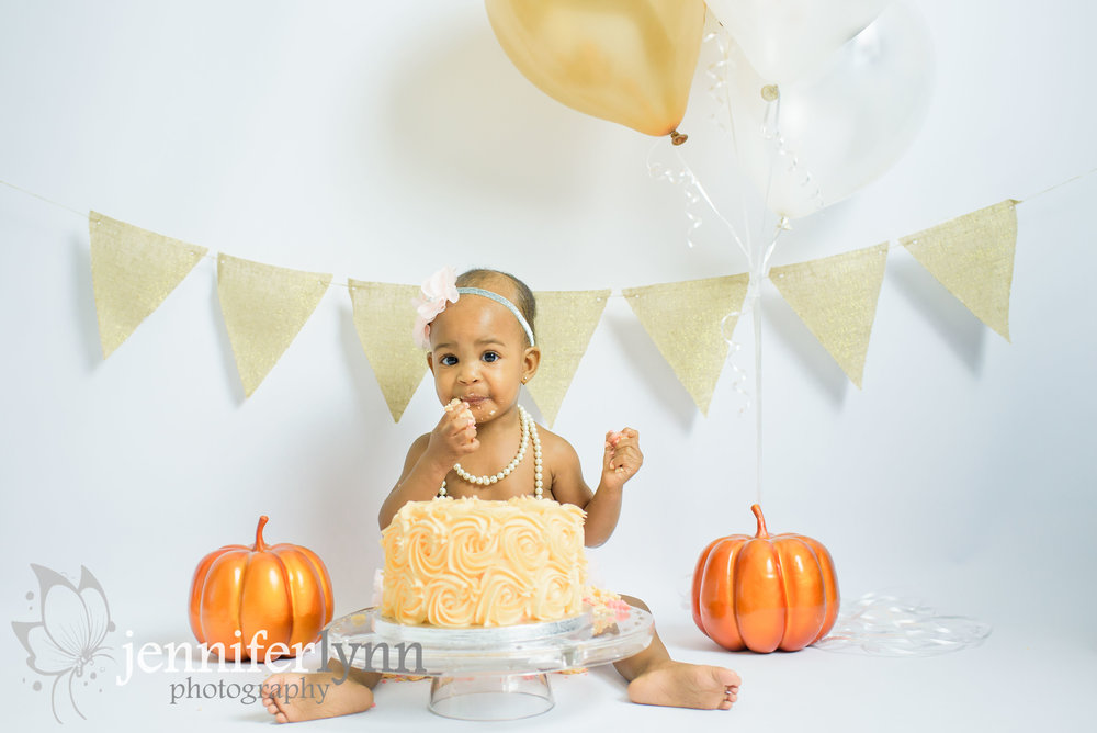 Baby Girl Cake Smash Birthday Gold