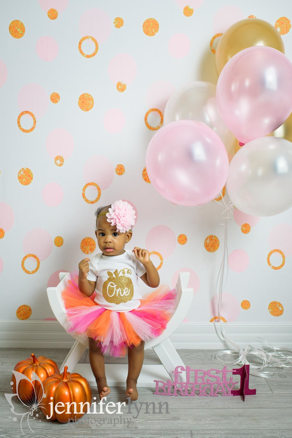 Baby Girl Birthday Pink Gold Pumpkins