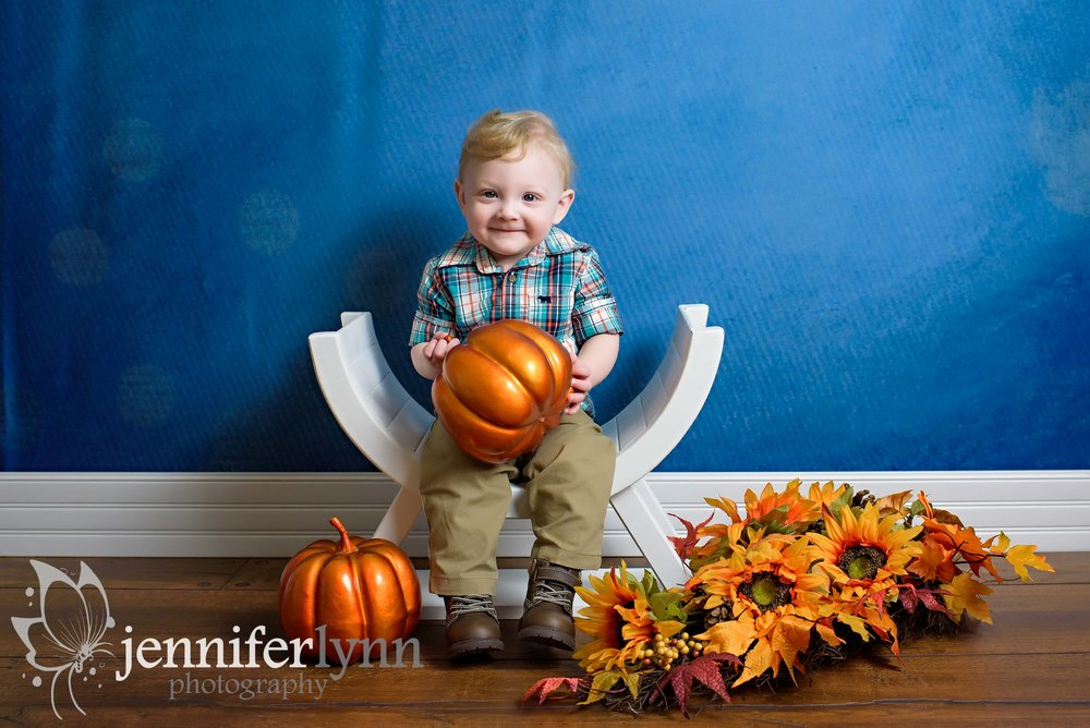 Baby Boy Fall Studio Pumpkin Sitting