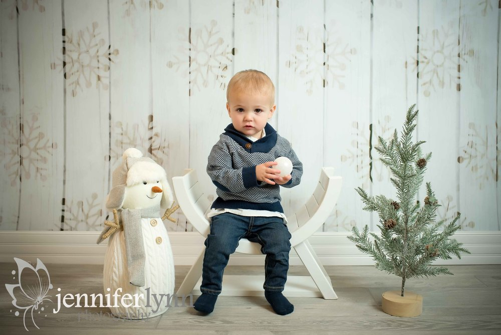Baby Boy Winter Sitting Bench Snowman