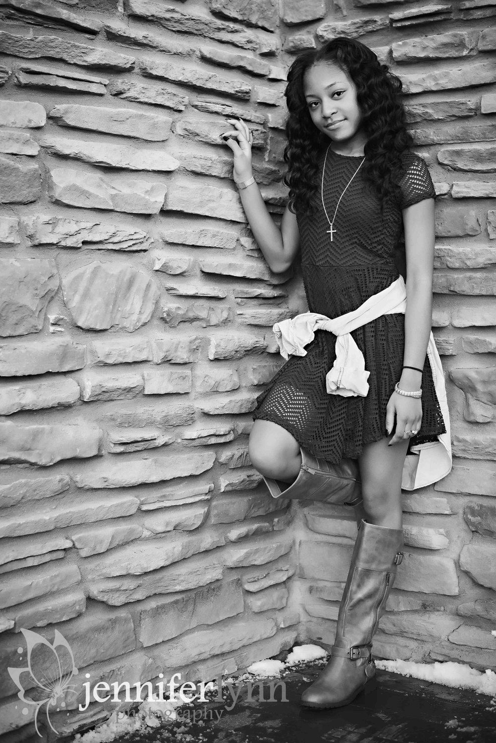 Senior Girl-Black and White Stone Wall