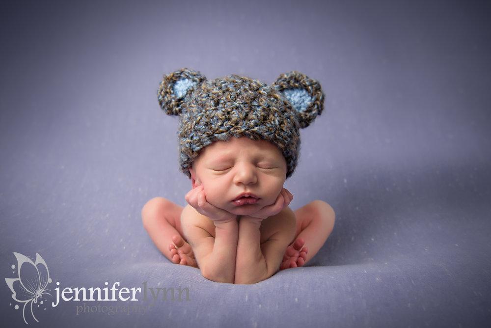 Froggie Pose with Bear Ears Knit Hat