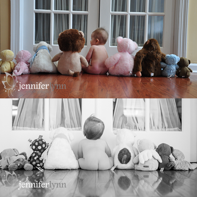 "Here is another comparison, a ""before and after"" of sorts. I have taken a photo like this of every one of my kids. These are some of my favorite photos of all time before they learned to crawl and walk. I plan to make a wall gallery of them after we have our last little one in May. I have learned so much about light, shadow, and editing since my daughter's (top photo) was taken. I even entered the bottom photo in an image competition this year! At least the younger kids will have awesome baby pictures even if their baby journals aren't as complete as the first kids."
