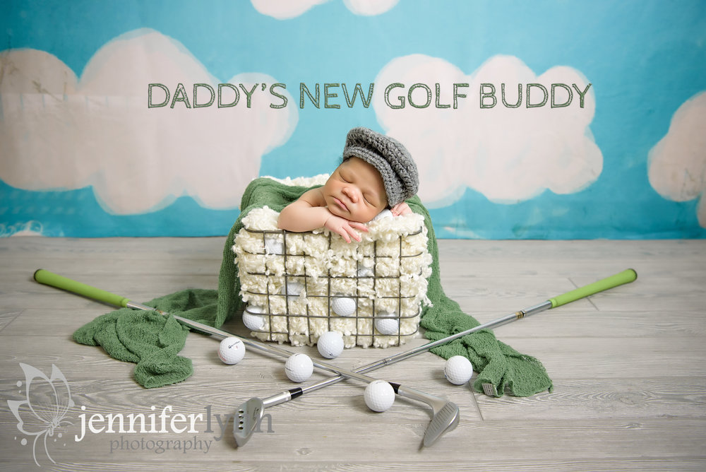 Golf Themed Newborn Boy In Basket