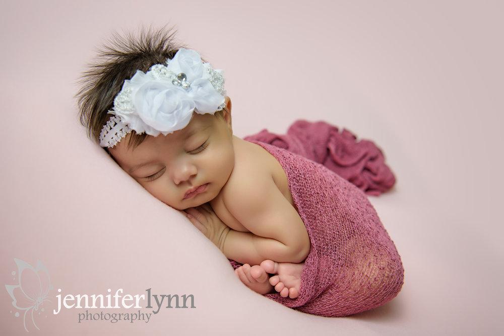 Newborn Gril Taco Pose Pink
