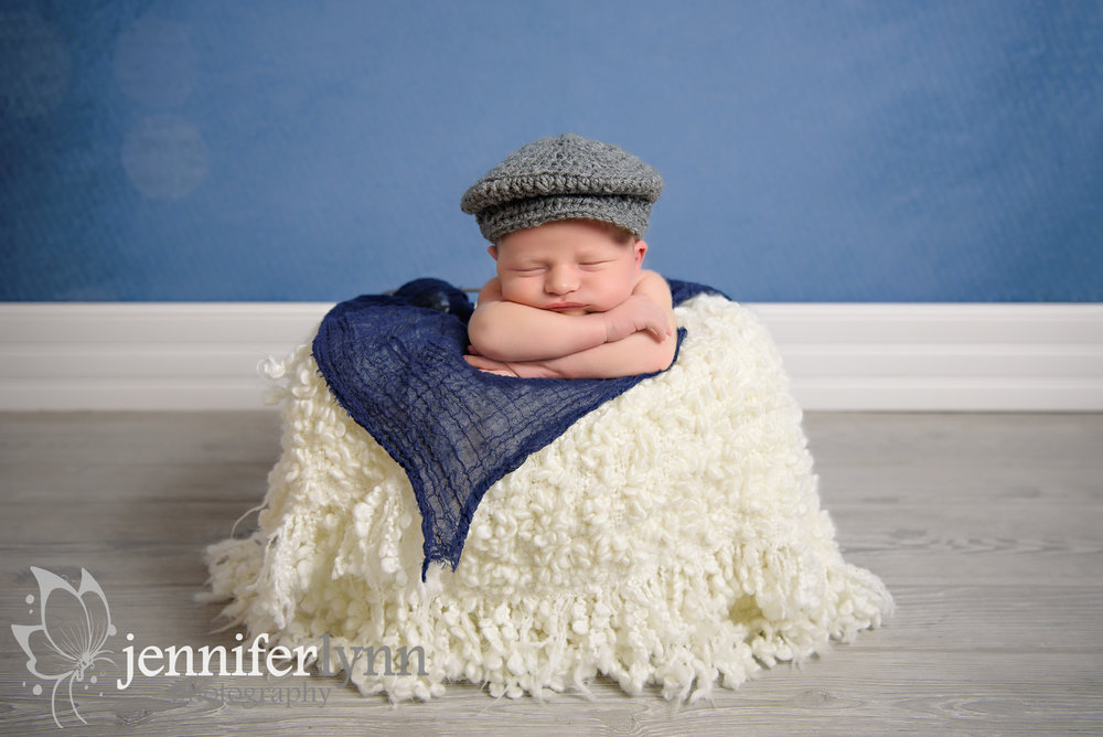 Newborn Boy Basket Newsboy Hat