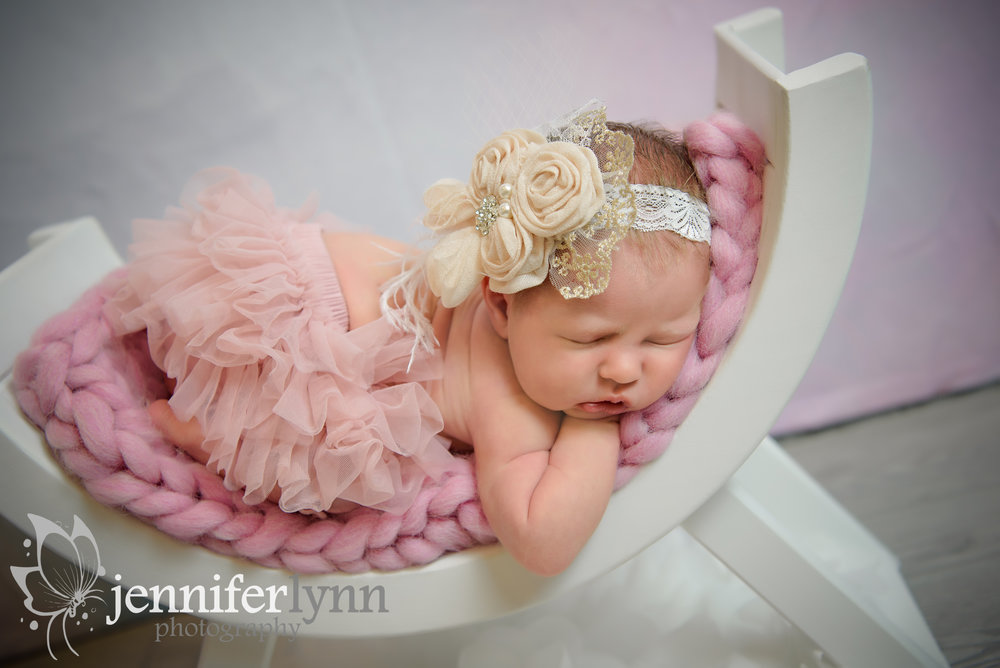 Newborn Girl on Bench Pink Tutu