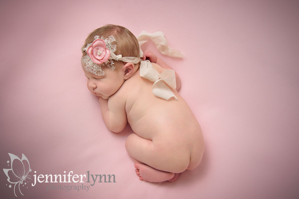 Newborn Girl Pink Blanket Overhead