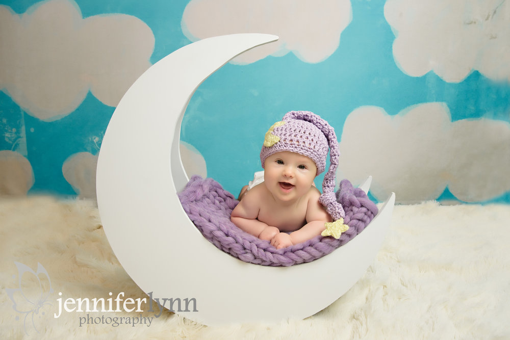 Baby Girl Moon Purple Clouds