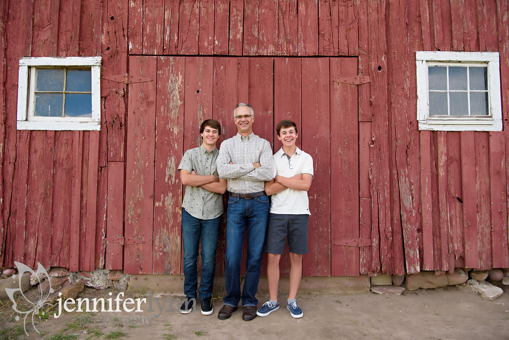 Dad and Two Sons Red Barn