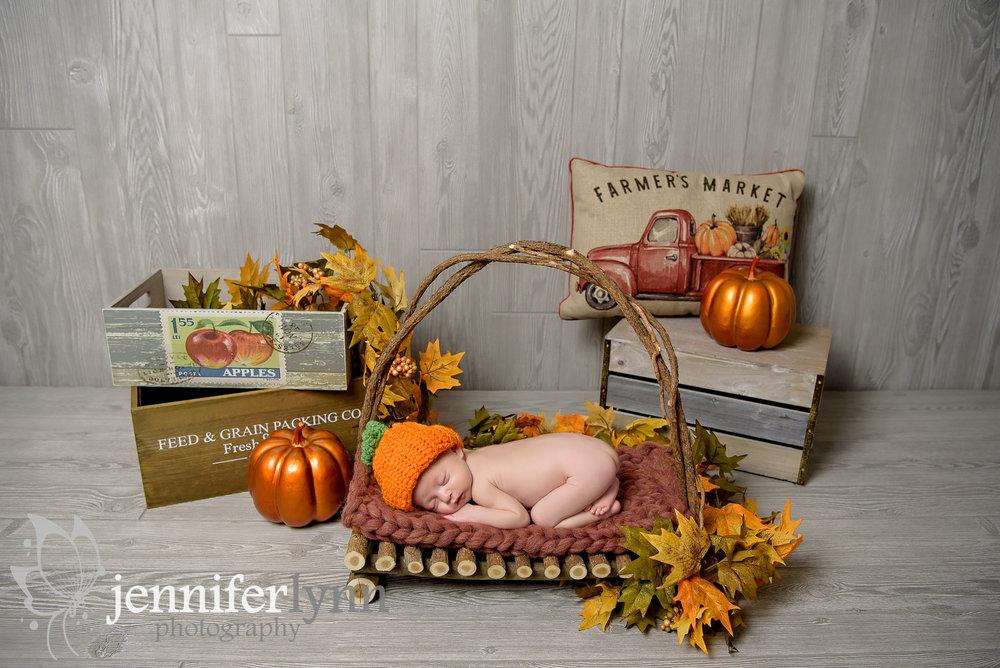 Newborn Fall Pumpkin Leaves Autumn