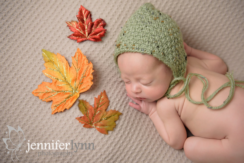 Newborn Boy Green Bonnet Fall Leaves Tan Blanket