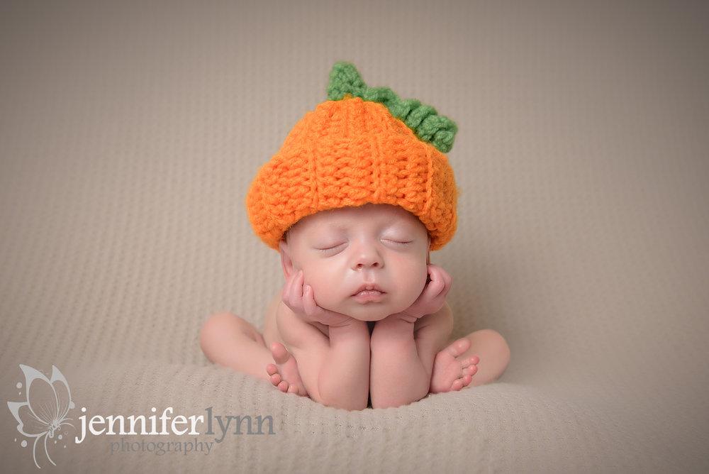 Froggie Pose Newborn Boy Pumpkin Hat