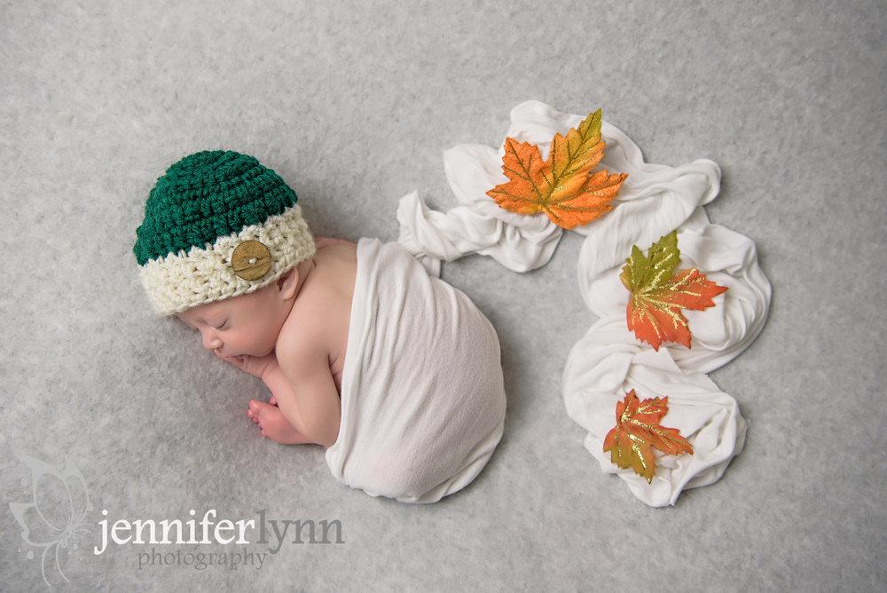 Newborn Boy Green Knit Hat Fall Leaves