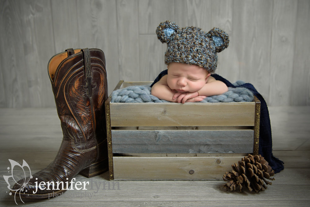 Newborn Boy Blue Bear Hat Cowboy Boots