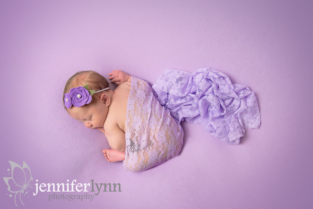 Newborn Girl Purple Lace Taco From Above